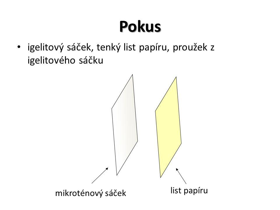 Pokus igelitový sáček, tenký list papíru, proužek z igelitového sáčku mikroténový sáček list papíru