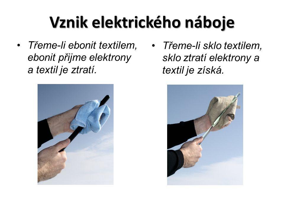 Vznik elektrického náboje Třeme-li ebonit textilem, ebonit přijme elektrony a textil je ztratí. Třeme-li sklo textilem, sklo ztratí elektrony a textil