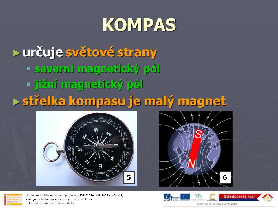 KOMPAS ► určuje světové strany  severní magnetický pól  jižní magnetický pól ► střelka kompasu je malý magnet Učební materiál vznikl v rámci projektu INFORMACE – INSPIRACE – INOVACE, který je spolufinancován Evropským sociálním fondem a státním rozpočtem České republiky.