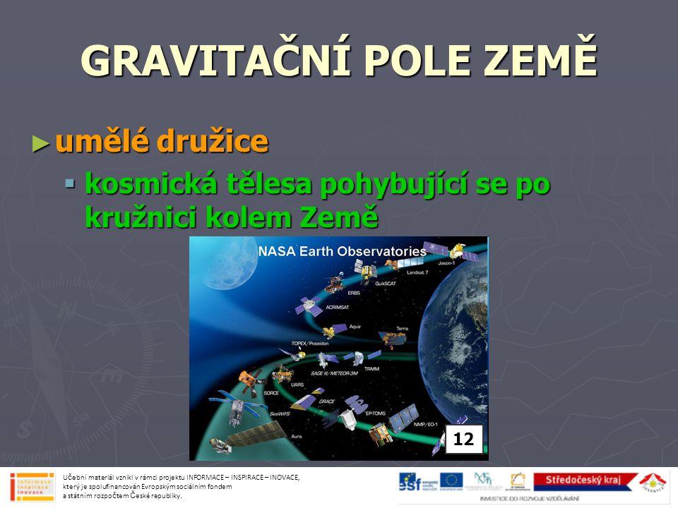 GRAVITAČNÍ POLE ZEMĚ ► přirozená družice = MĚSÍC  vzdálenost od Země je 384 000 km  průměr 3 476 km Učební materiál vznikl v rámci projektu INFORMACE – INSPIRACE – INOVACE, který je spolufinancován Evropským sociálním fondem a státním rozpočtem České republiky.