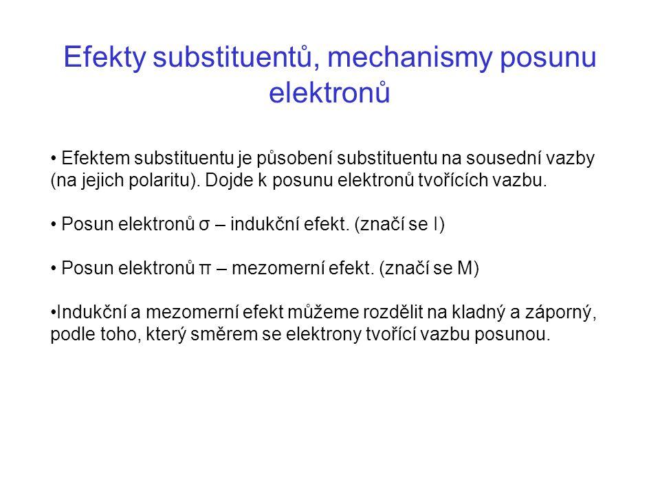 Efekty substituentů, mechanismy posunu elektronů Efektem substituentu je působení substituentu na sousední vazby (na jejich polaritu). Dojde k posunu