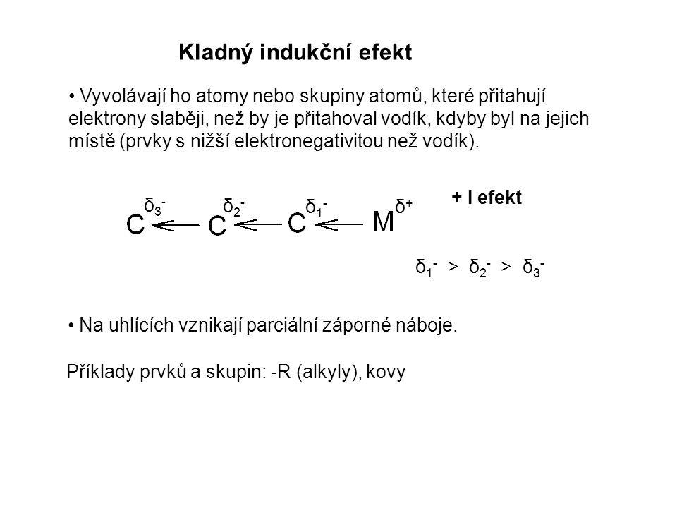 δ+δ+ δ1-δ1- δ2-δ2- δ3-δ3- δ 1 - > δ 2 - > δ 3 - Kladný indukční efekt Vyvolávají ho atomy nebo skupiny atomů, které přitahují elektrony slaběji, než b