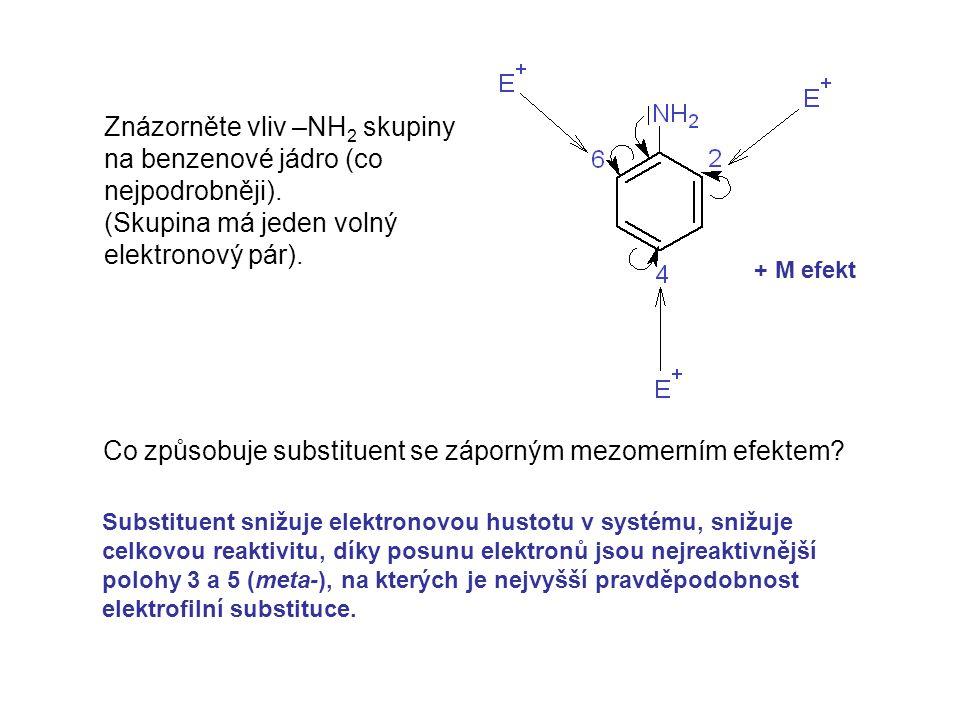 Znázorněte vliv –NH 2 skupiny na benzenové jádro (co nejpodrobněji). (Skupina má jeden volný elektronový pár). Co způsobuje substituent se záporným me