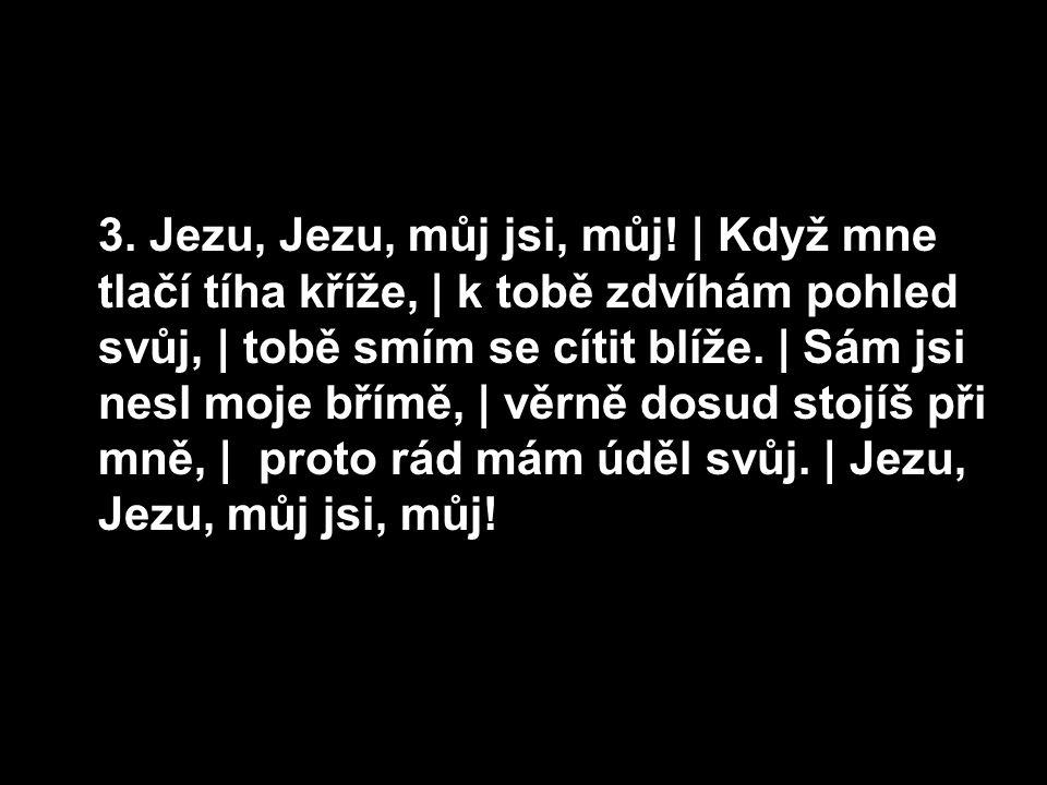 3. Jezu, Jezu, můj jsi, můj!   Když mne tlačí tíha kříže,   k tobě zdvíhám pohled svůj,   tobě smím se cítit blíže.   Sám jsi nesl moje břímě,   věrně
