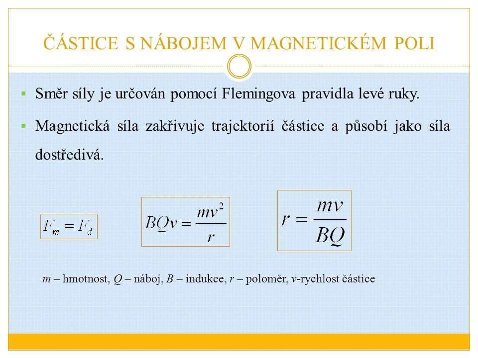 ČÁSTICE S NÁBOJEM V MAGNETICKÉM POLI  Směr síly je určován pomocí Flemingova pravidla levé ruky.  Magnetická síla zakřivuje trajektorií částice a pů