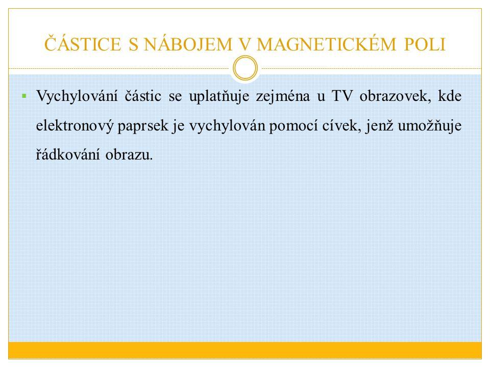 ČÁSTICE S NÁBOJEM V MAGNETICKÉM POLI  Vychylování částic se uplatňuje zejména u TV obrazovek, kde elektronový paprsek je vychylován pomocí cívek, jen