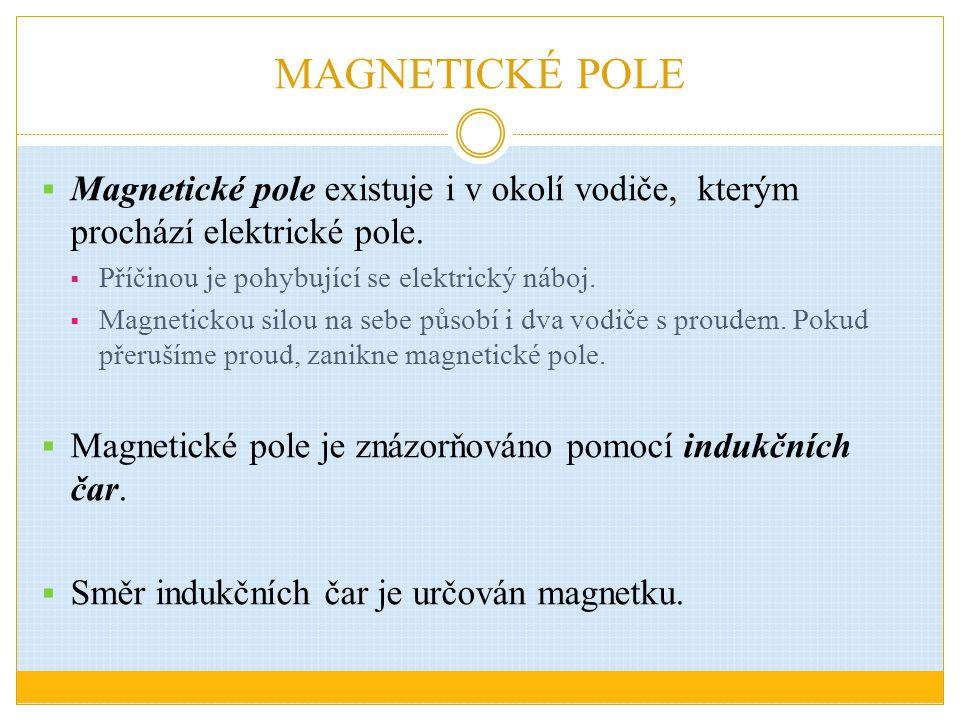 MAGNETICKÉ POLE  Magnetické pole existuje i v okolí vodiče, kterým prochází elektrické pole.  Příčinou je pohybující se elektrický náboj.  Magnetic