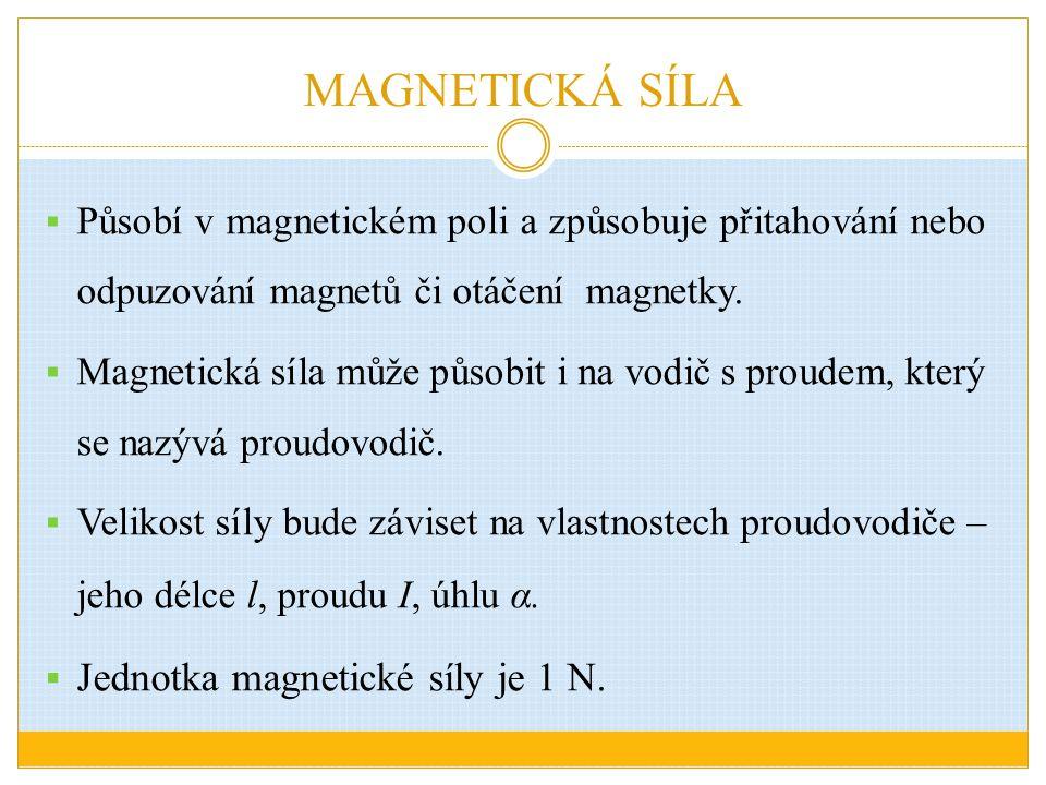 MAGNETICKÁ SÍLA  Působí v magnetickém poli a způsobuje přitahování nebo odpuzování magnetů či otáčení magnetky.  Magnetická síla může působit i na v
