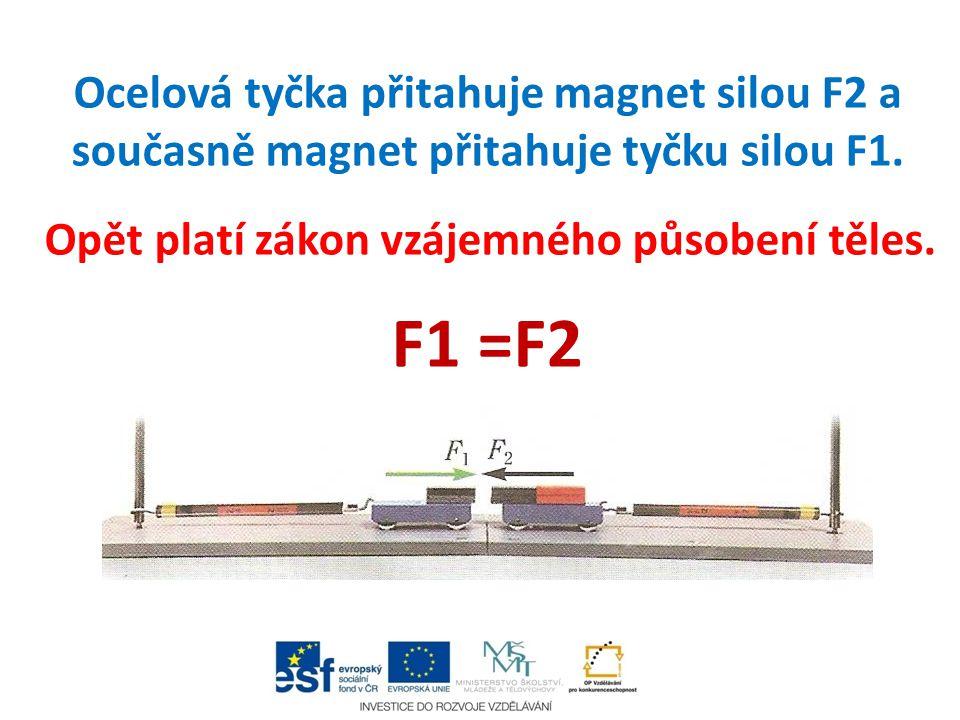 Ocelová tyčka přitahuje magnet silou F2 a současně magnet přitahuje tyčku silou F1. Opět platí zákon vzájemného působení těles. F1 =F2