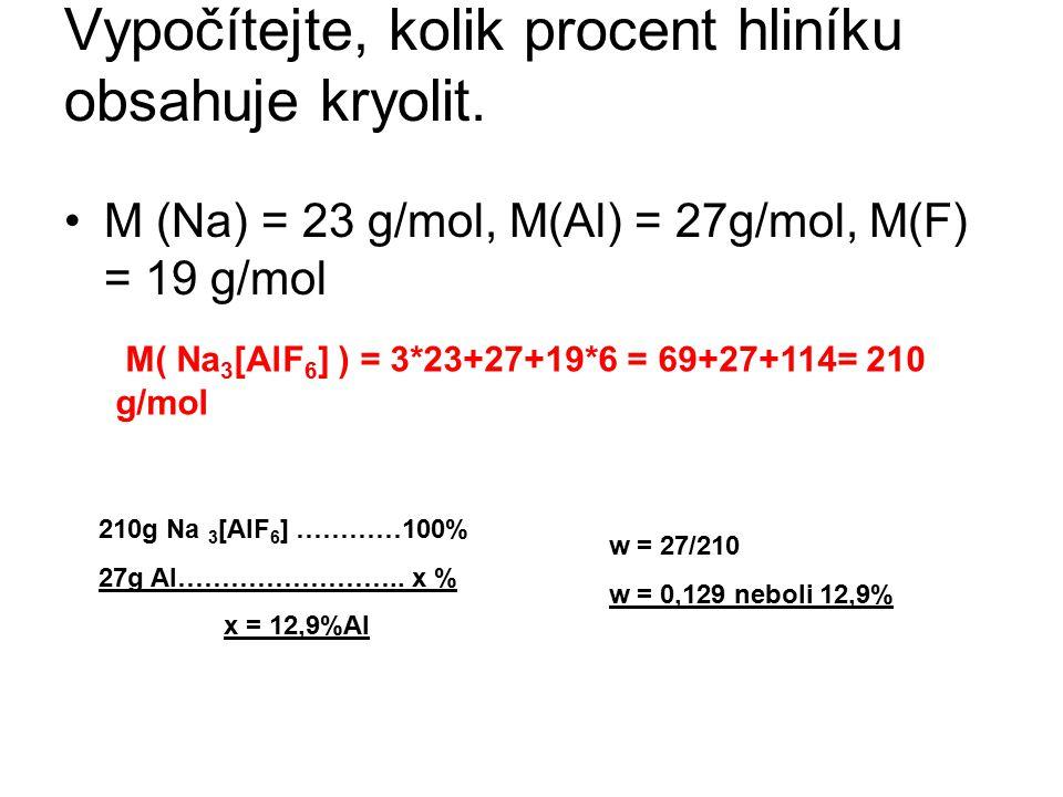Vypočítejte, kolik procent hliníku obsahuje kryolit. M (Na) = 23 g/mol, M(Al) = 27g/mol, M(F) = 19 g/mol M( Na 3 [AlF 6 ] ) = 3*23+27+19*6 = 69+27+114