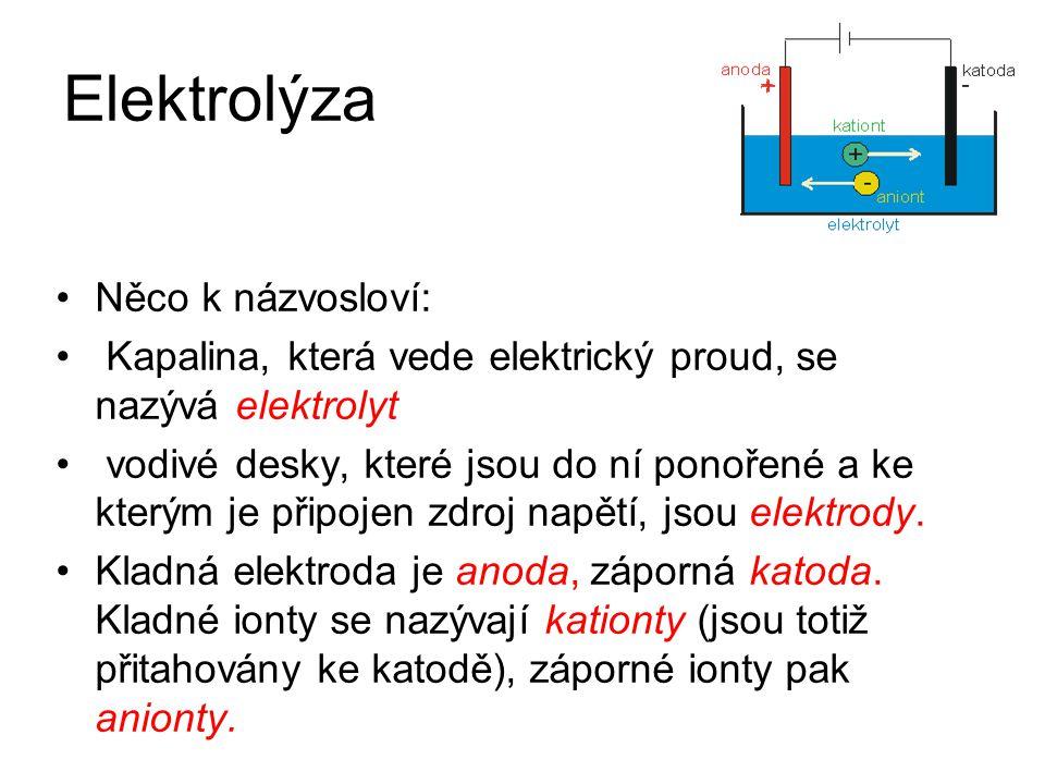 Elektrolýza Něco k názvosloví: Kapalina, která vede elektrický proud, se nazývá elektrolyt vodivé desky, které jsou do ní ponořené a ke kterým je přip