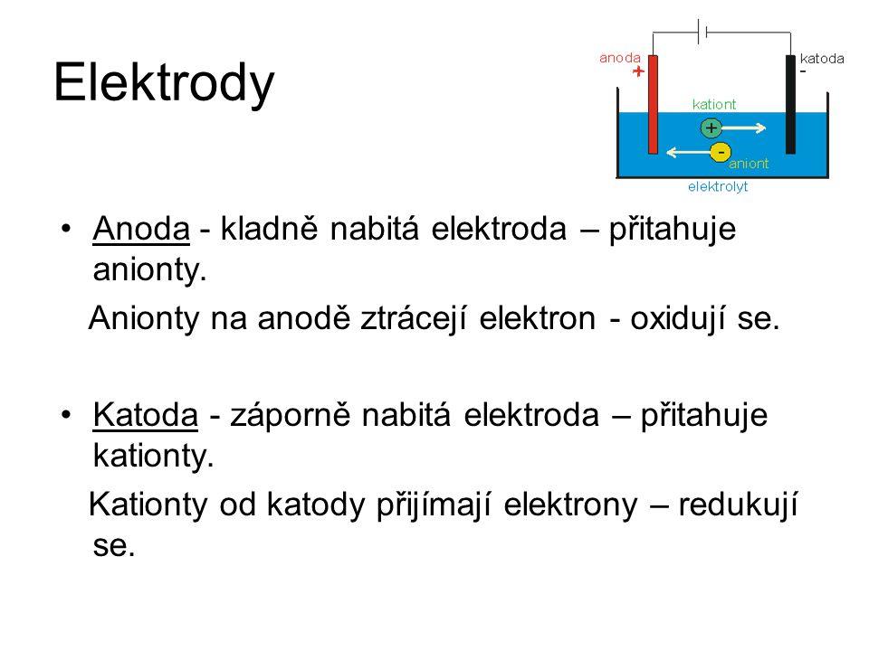 Elektrody Anoda - kladně nabitá elektroda – přitahuje anionty. Anionty na anodě ztrácejí elektron - oxidují se. Katoda - záporně nabitá elektroda – př