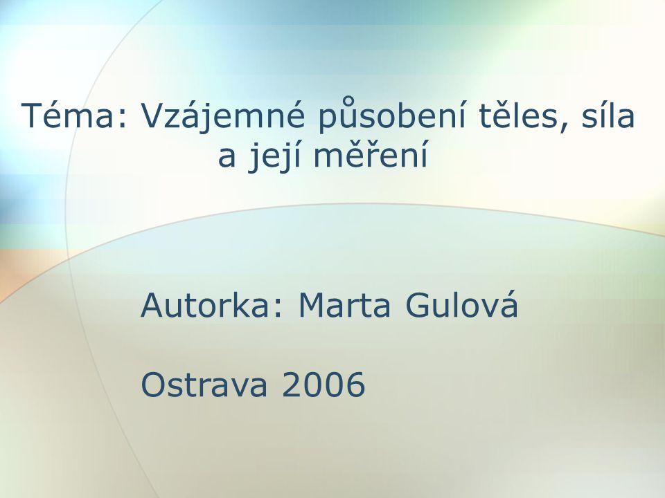 Téma: Vzájemné působení těles, síla a její měření Autorka: Marta Gulová Ostrava 2006