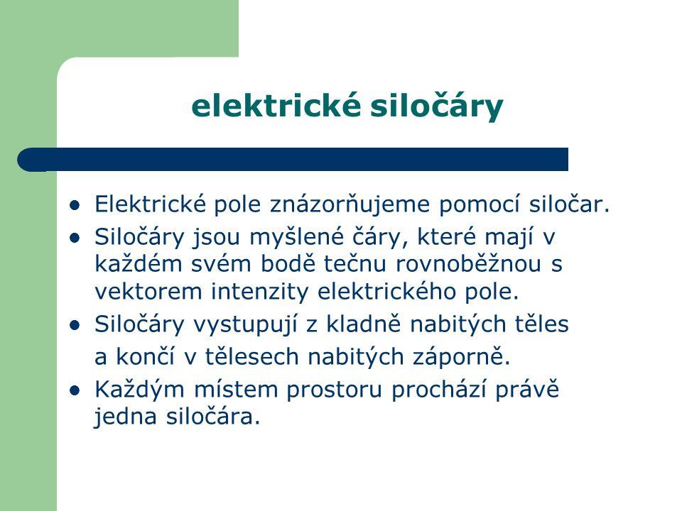 elektrické siločáry Elektrické pole znázorňujeme pomocí siločar. Siločáry jsou myšlené čáry, které mají v každém svém bodě tečnu rovnoběžnou s vektore