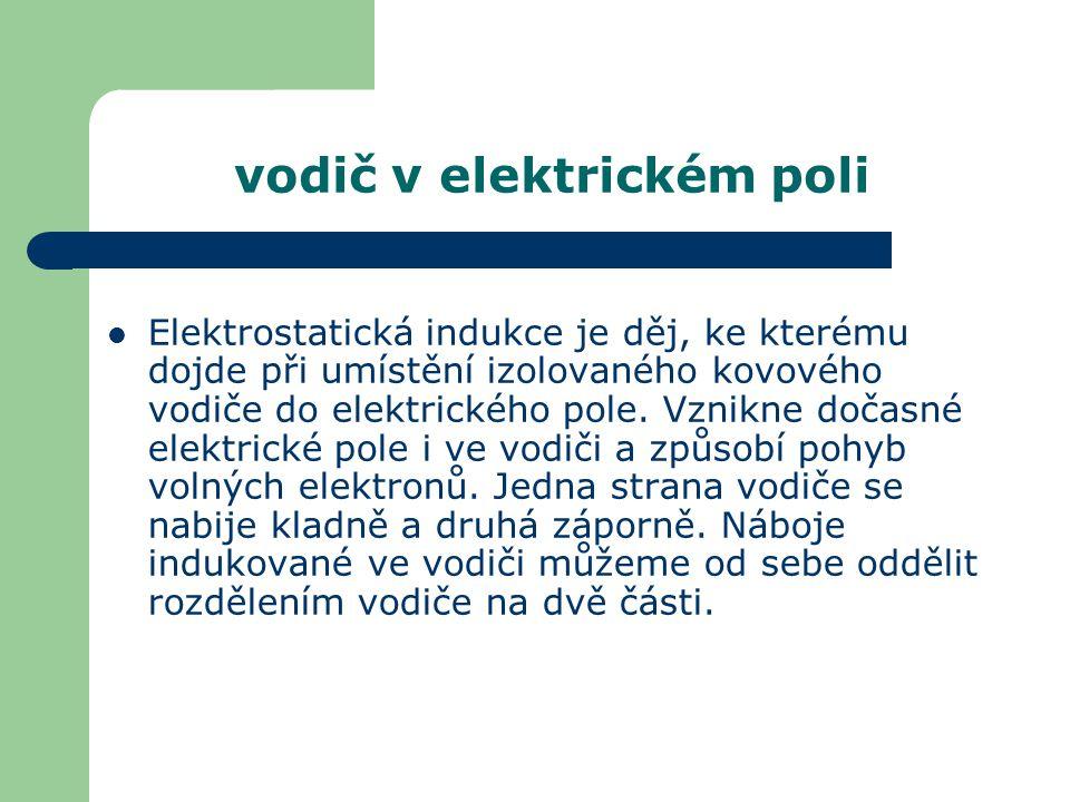 vodič v elektrickém poli Elektrostatická indukce je děj, ke kterému dojde při umístění izolovaného kovového vodiče do elektrického pole. Vznikne dočas