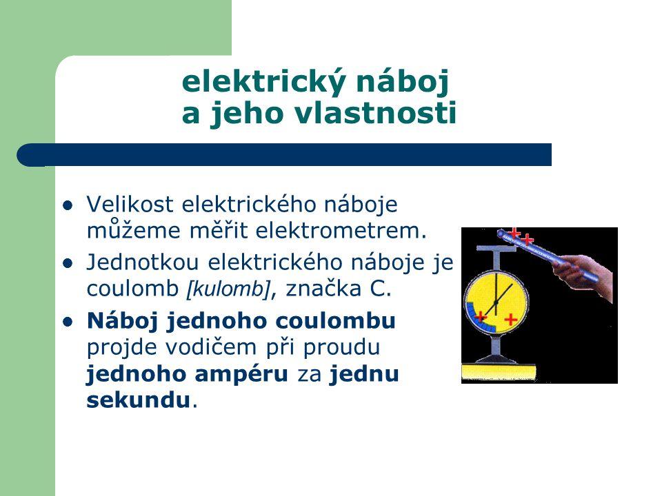 1 nC = 10 -9 C, 1 nanocoulomb 1C = 10 -6 C, 1 mikrocoulomb Elementární náboj má velikost e  1,602.10 -19 C Elektrický náboj elektronu je –e.