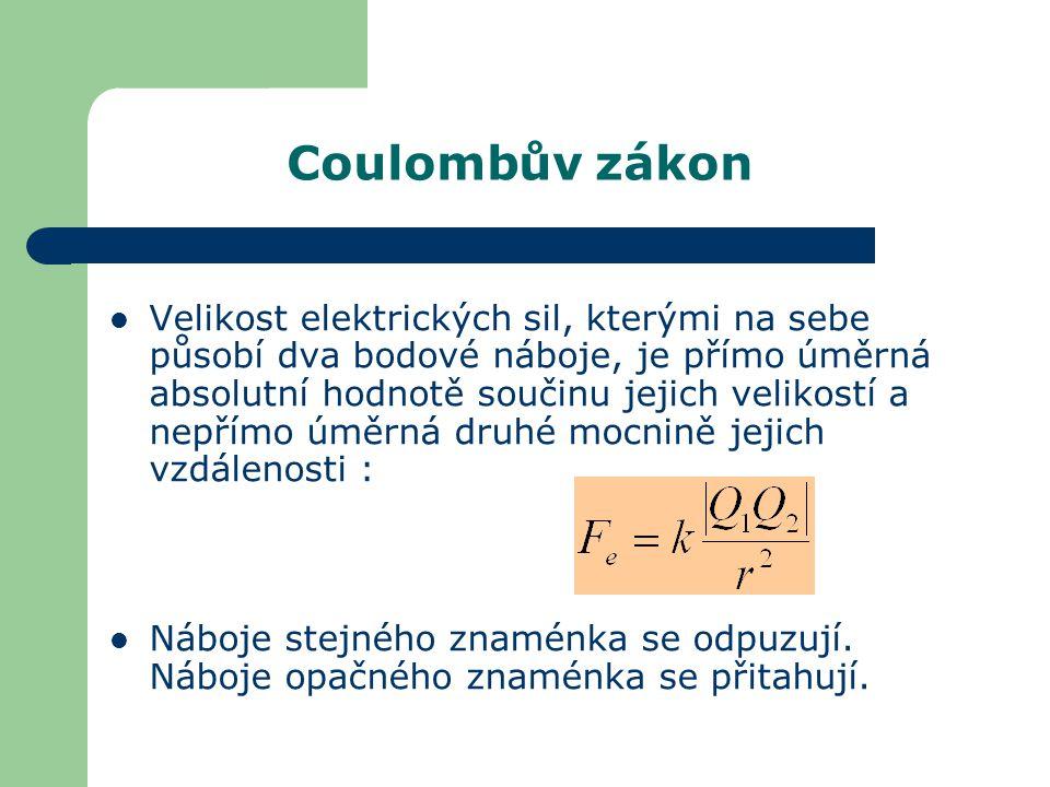 Coulombův zákon Velikost elektrických sil, kterými na sebe působí dva bodové náboje, je přímo úměrná absolutní hodnotě součinu jejich velikostí a nepř