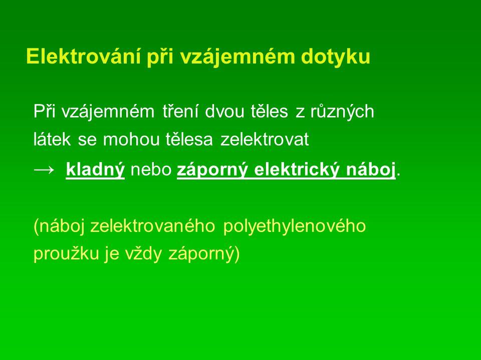 Elektrování při vzájemném dotyku Při vzájemném tření dvou těles z různých látek se mohou tělesa zelektrovat → kladný nebo záporný elektrický náboj. (n
