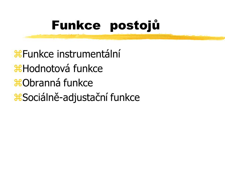 Funkce postojů zFunkce instrumentální zHodnotová funkce zObranná funkce zSociálně-adjustační funkce