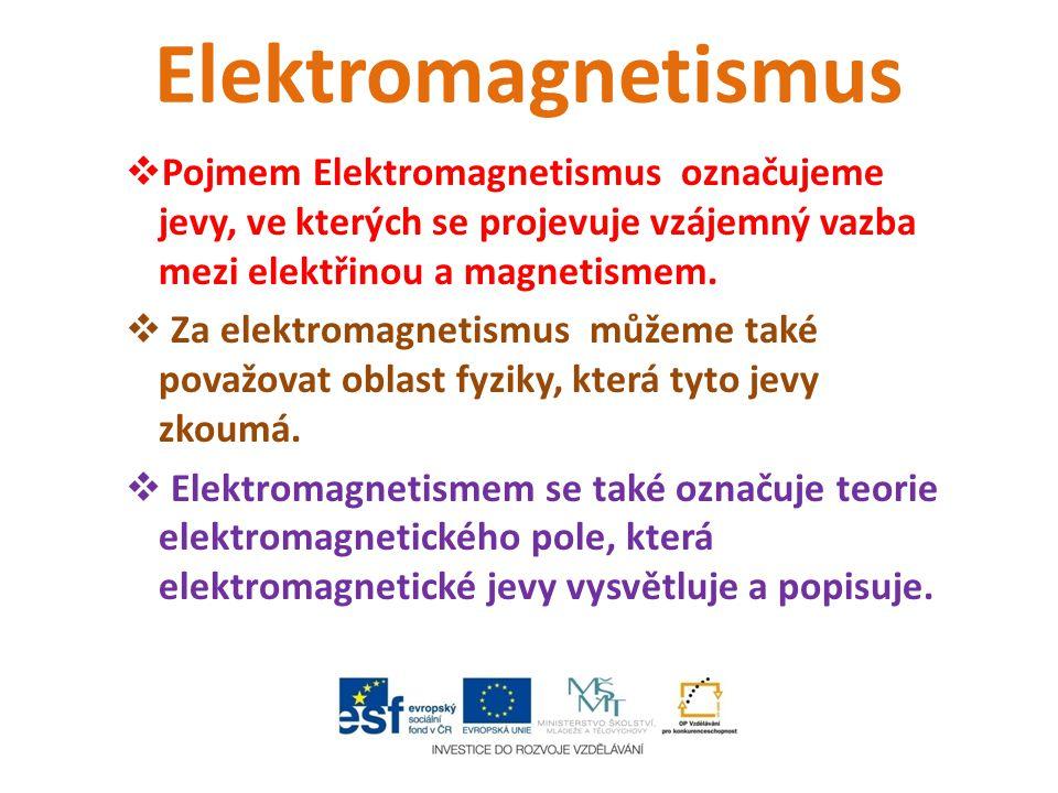 Elektromagnetismus  Pojmem Elektromagnetismus označujeme jevy, ve kterých se projevuje vzájemný vazba mezi elektřinou a magnetismem.  Za elektromagn