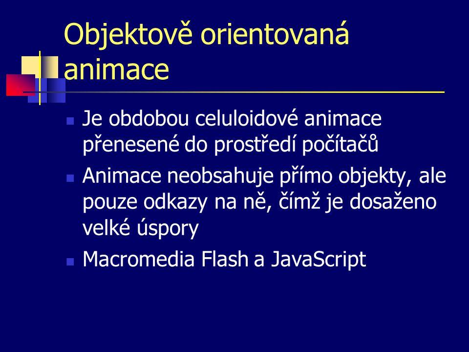 Objektově orientovaná animace Je obdobou celuloidové animace přenesené do prostředí počítačů Animace neobsahuje přímo objekty, ale pouze odkazy na ně, čímž je dosaženo velké úspory Macromedia Flash a JavaScript