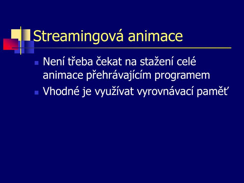 Streamingová animace Není třeba čekat na stažení celé animace přehrávajícím programem Vhodné je využívat vyrovnávací paměť