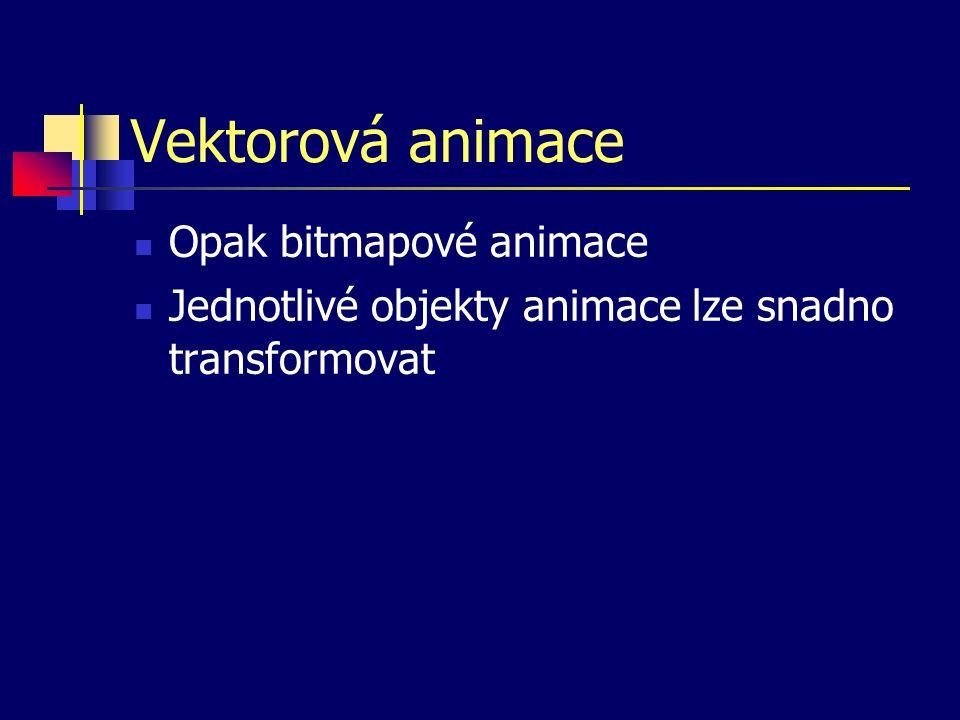 Vektorová animace Opak bitmapové animace Jednotlivé objekty animace lze snadno transformovat