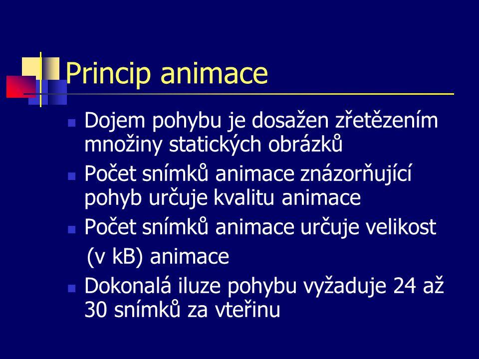 Princip animace Dojem pohybu je dosažen zřetězením množiny statických obrázků Počet snímků animace znázorňující pohyb určuje kvalitu animace Počet snímků animace určuje velikost (v kB) animace Dokonalá iluze pohybu vyžaduje 24 až 30 snímků za vteřinu