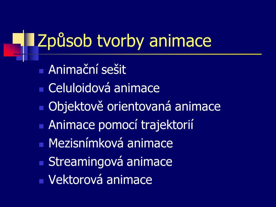 Způsob tvorby animace Animační sešit Celuloidová animace Objektově orientovaná animace Animace pomocí trajektorií Mezisnímková animace Streamingová animace Vektorová animace
