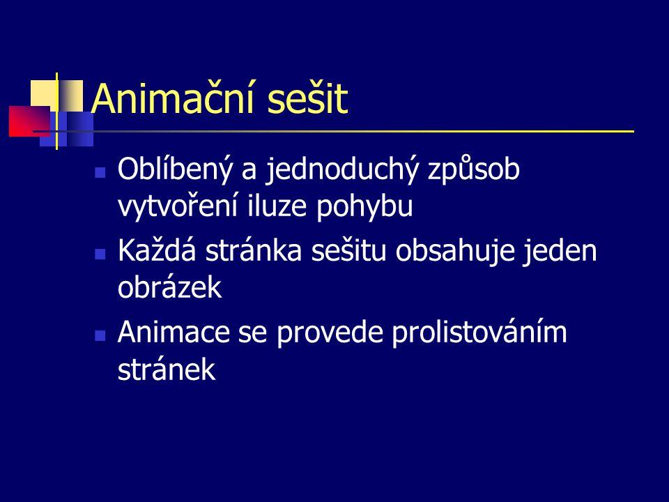 Animační sešit Oblíbený a jednoduchý způsob vytvoření iluze pohybu Každá stránka sešitu obsahuje jeden obrázek Animace se provede prolistováním stránek