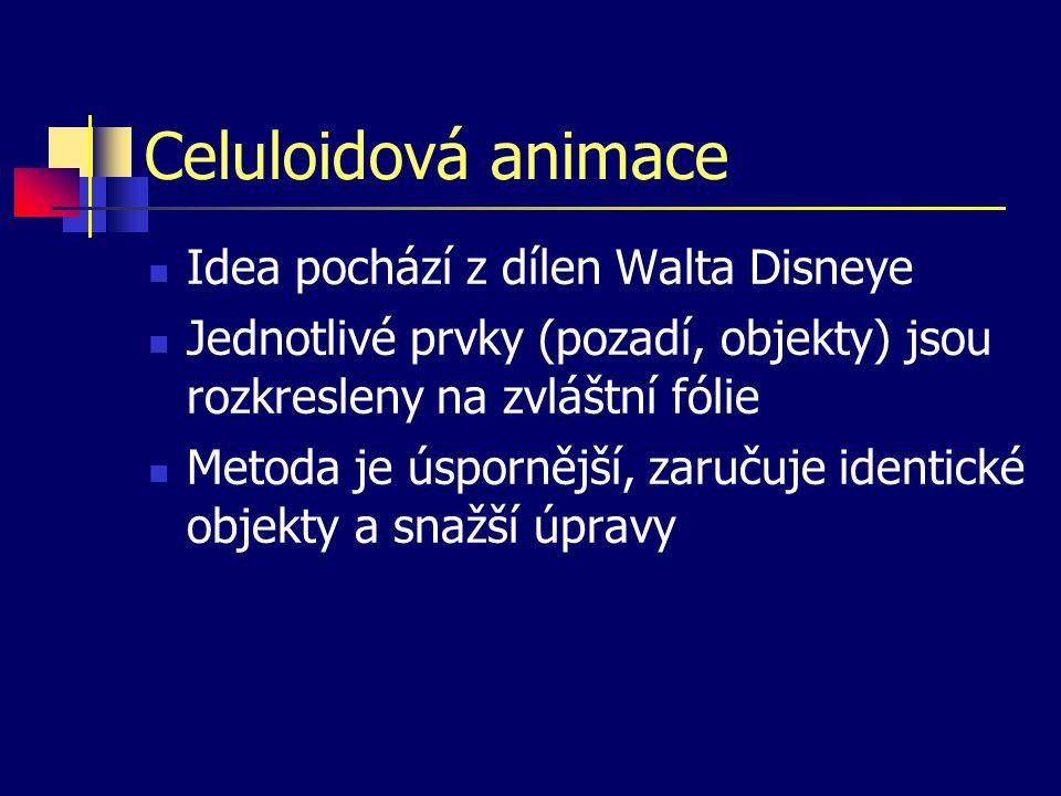 Celuloidová animace Idea pochází z dílen Walta Disneye Jednotlivé prvky (pozadí, objekty) jsou rozkresleny na zvláštní fólie Metoda je úspornější, zaručuje identické objekty a snažší úpravy