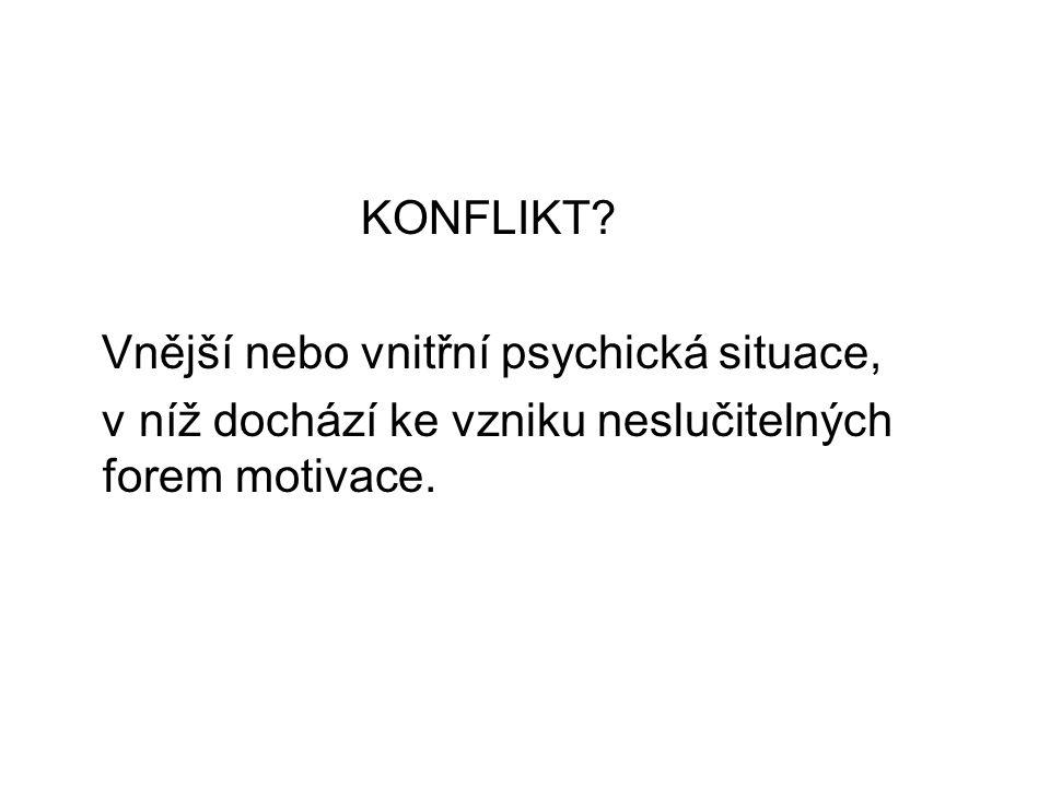 KONFLIKT? Vnější nebo vnitřní psychická situace, v níž dochází ke vzniku neslučitelných forem motivace.