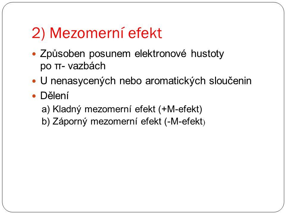 2) Mezomerní efekt Způsoben posunem elektronové hustoty po π- vazbách U nenasycených nebo aromatických sloučenin Dělení a) Kladný mezomerní efekt (+M-efekt) b) Záporný mezomerní efekt (-M-efekt )