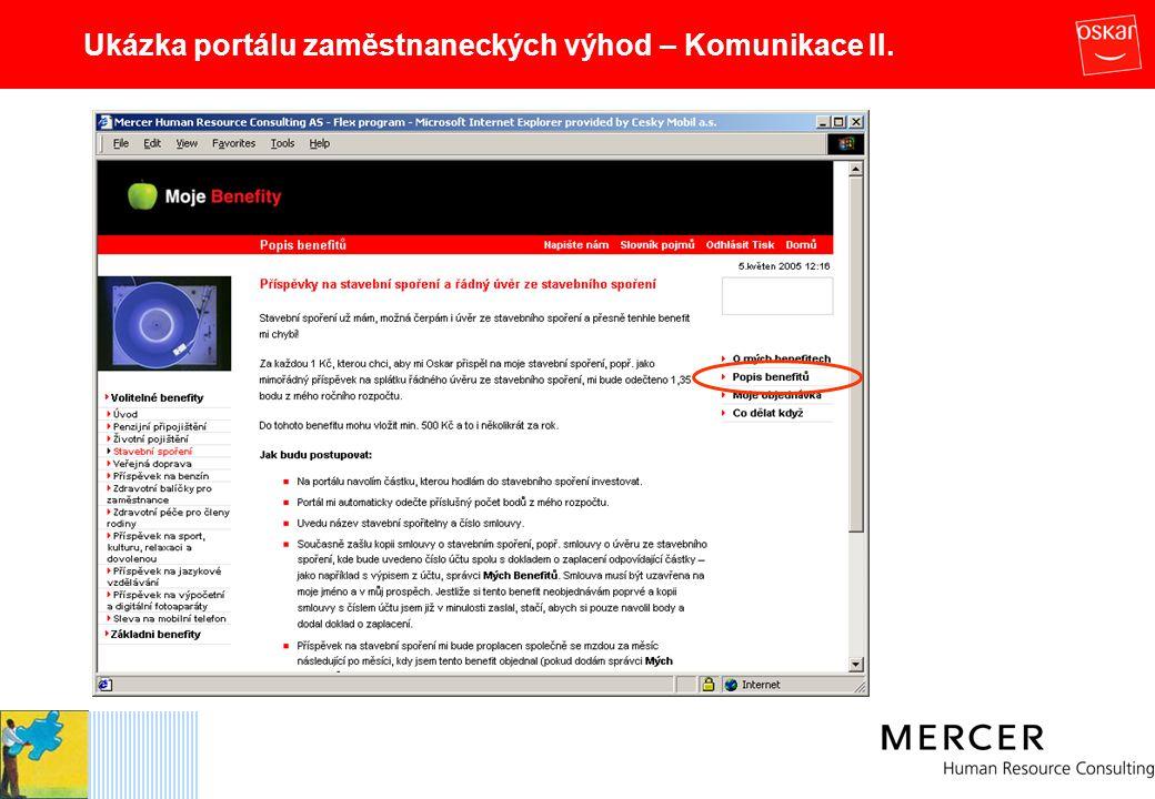 Ukázka portálu zaměstnaneckých výhod – Komunikace II.