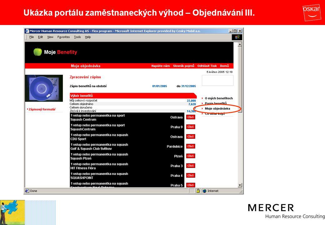 Ukázka portálu zaměstnaneckých výhod – Objednávání III.