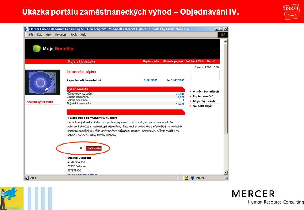 Ukázka portálu zaměstnaneckých výhod – Objednávání IV.