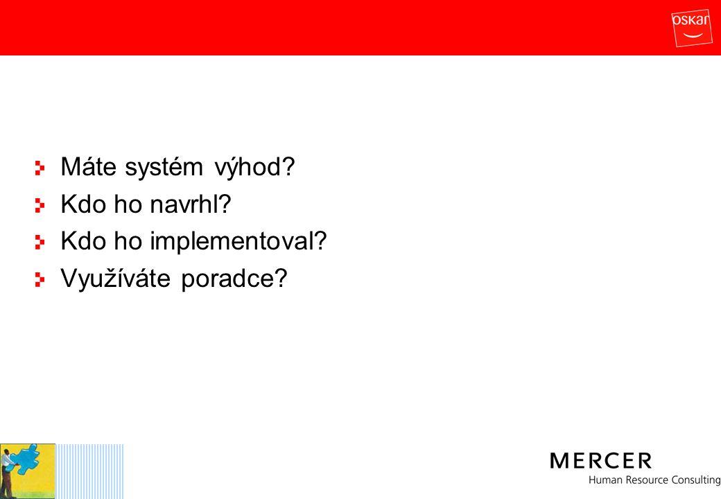 Máte systém výhod? Kdo ho navrhl? Kdo ho implementoval? Využíváte poradce?