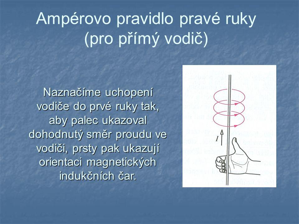Ampérovo pravidlo pravé ruky (pro přímý vodič) Naznačíme uchopení vodiče do prvé ruky tak, aby palec ukazoval dohodnutý směr proudu ve vodiči, prsty p