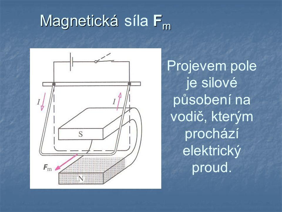 Magnetická F m Magnetická síla F m Projevem pole je silové působení na vodič, kterým prochází elektrický proud.