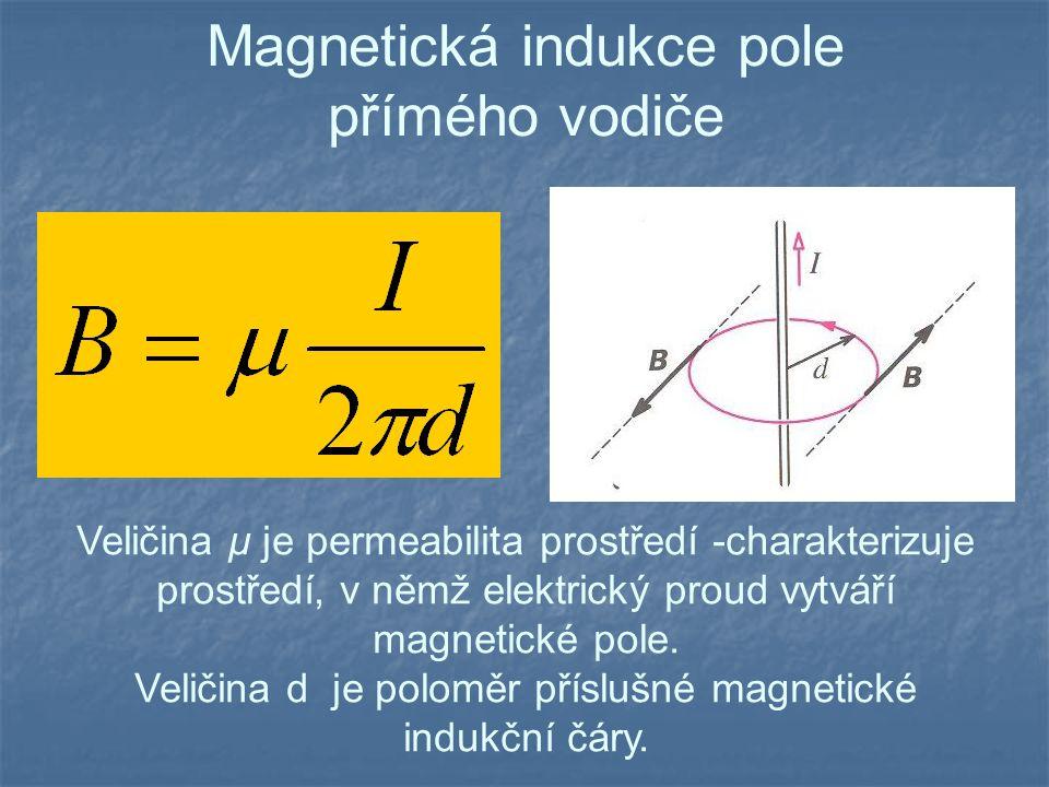 Permeabilita Konstanta  uvedená ve vzorcích se nazývá permeabilita prostředí a charakterizuje magnetické vlastnosti prostředí.