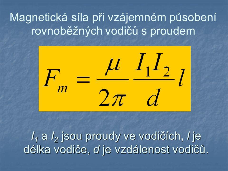 Magnetická síla při vzájemném působení rovnoběžných vodičů s proudem I 1 a I 2 jsou proudy ve vodičích, l je délka vodiče, d je vzdálenost vodičů.