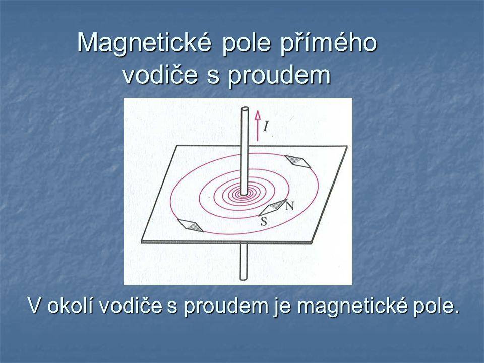 Magnetické pole přímého vodiče s proudem V okolí vodiče s proudem je magnetické pole.