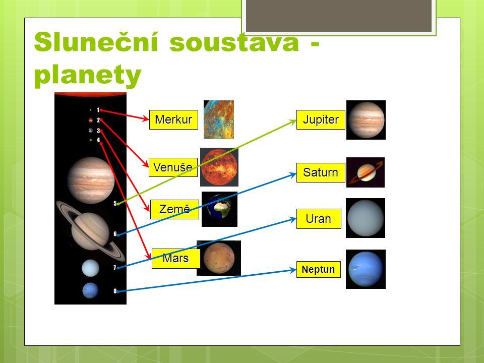 Sluneční soustava - planety Merkur Venuše Země Mars Jupiter Saturn Uran Neptun