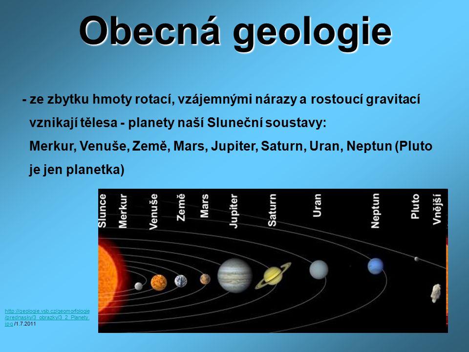 Obecná geologie - ze zbytku hmoty rotací, vzájemnými nárazy a rostoucí gravitací vznikají tělesa - planety naší Sluneční soustavy: Merkur, Venuše, Zem