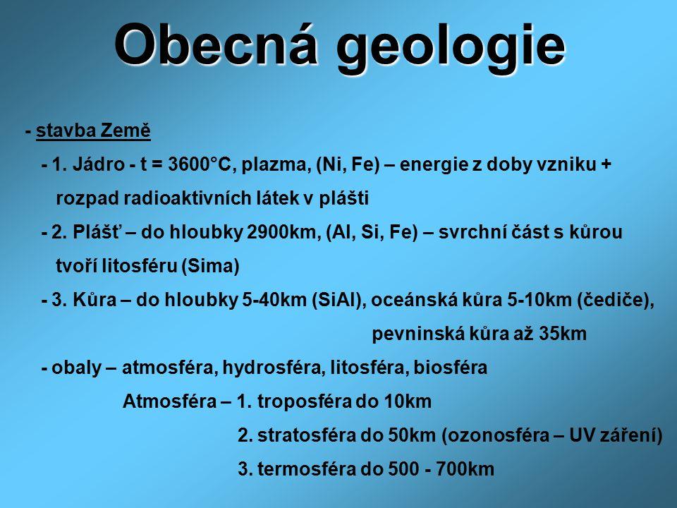 Obecná geologie - stavba Země - 1. Jádro - t = 3600°C, plazma, (Ni, Fe) – energie z doby vzniku + rozpad radioaktivních látek v plášti - 2. Plášť – do