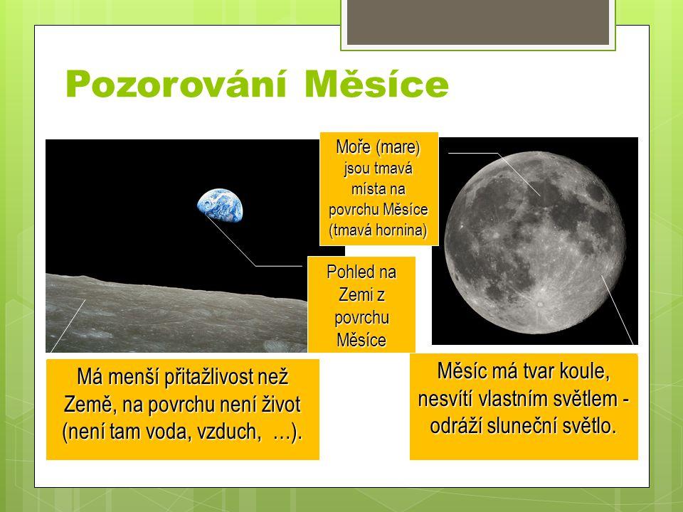 Pozorování Měsíce Měsíc má tvar koule, nesvítí vlastním světlem - odráží sluneční světlo.