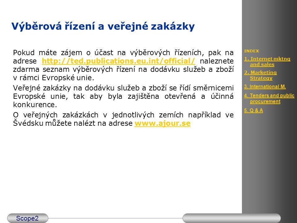 Scope2 INDEX 1. Internet mktng and sales 2. Marketing Strategy 3. International M. 4. Tenders and public procurement 5. Q & A Výběrová řízení a veřejn