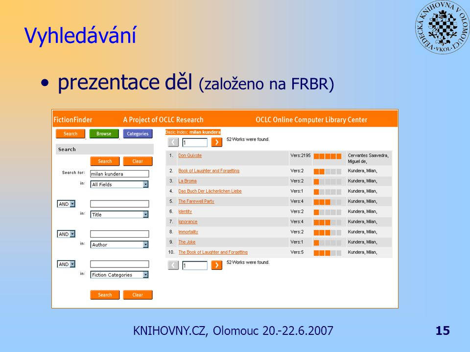 KNIHOVNY.CZ, Olomouc 20.-22.6.200715 Vyhledávání prezentace děl (založeno na FRBR)