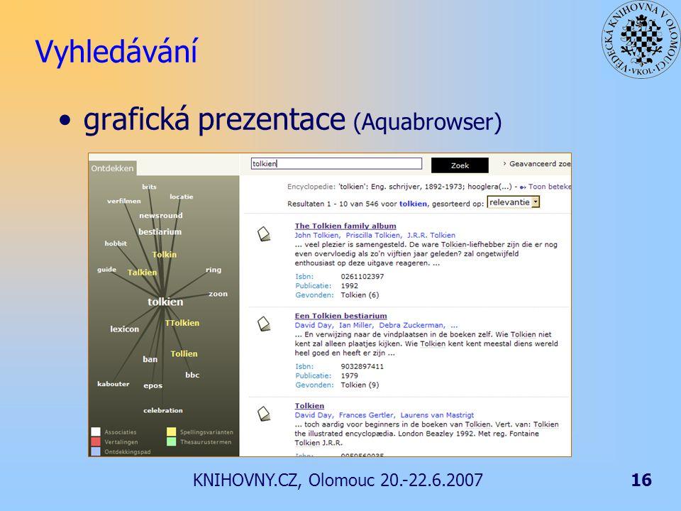 KNIHOVNY.CZ, Olomouc 20.-22.6.200716 Vyhledávání grafická prezentace (Aquabrowser)