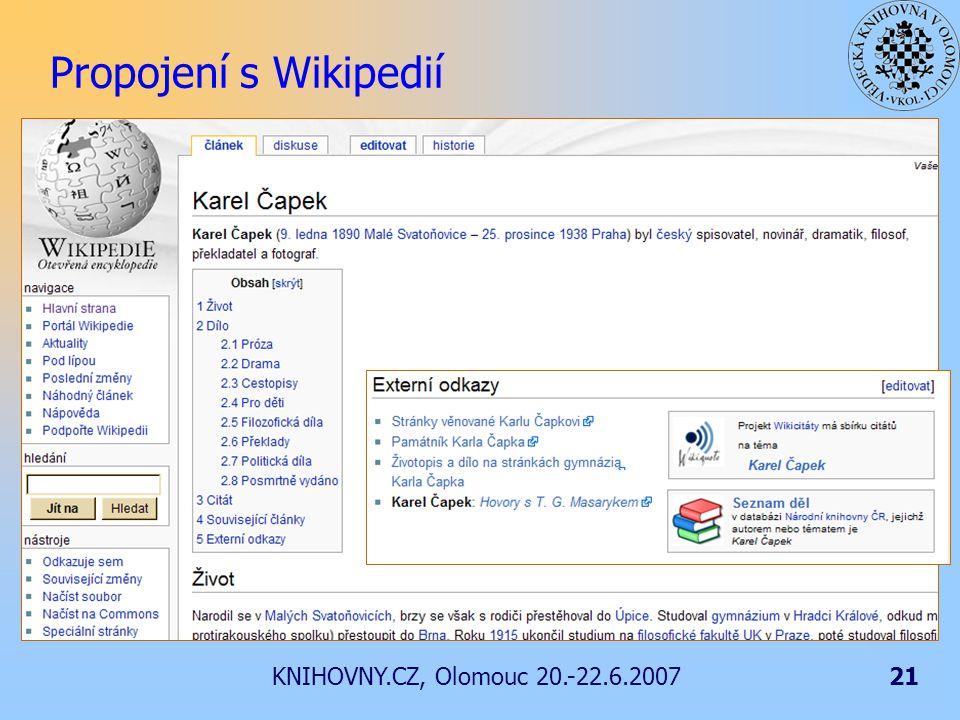 KNIHOVNY.CZ, Olomouc 20.-22.6.200721 Propojení s Wikipedií